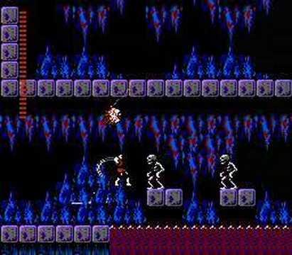 Castlevania II: Simon's Quest - бой со скелетами в подземелье