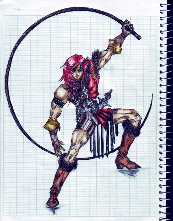 Castlevania Chronicles - рисунов в блокноте, Саймон с кнутом Vampire Killer