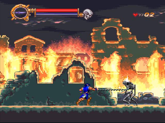 Castlevania: Dracula X (Rondo of Blood) - на фоне догорающих руин города
