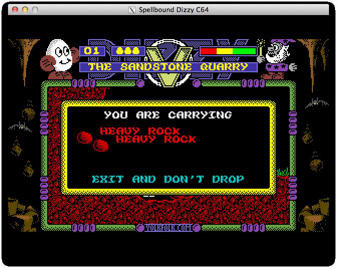 Spellbound Dizzy Lite - инвентарь Dizzy, два тяжёлых камня, чтобы можно было нырять в пещеру с сильным ветром